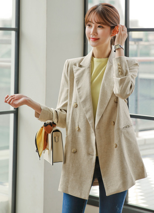 Baguette Double-button Linen Jacket <br>