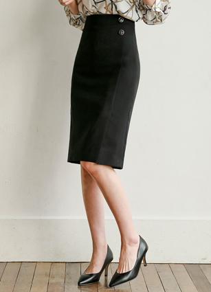 Kenneth Antique Button Slit Midi Skirt <br> <B>(S ~ M)</b>