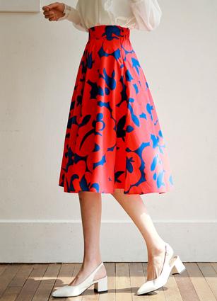 Picnic Waist Rear Banding Pattern Full Skirt <br>
