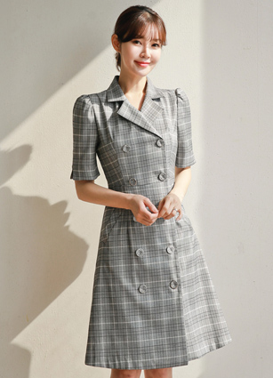 Rene Check Pattern Tailored Double One-piece dress / Gray <B>(S, M, L)</b> <br> <FONT color=#980000>◆ Remaining Quantity: Gray / M 1 sheet</font> <br>