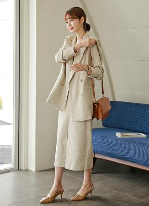 <b><FONT color=#980000>CodySET ◆ 10% discount</font></b> <br> Baguette Double-button Linen Jacket + <br> Button Slit Baguette Linen Long Skirt