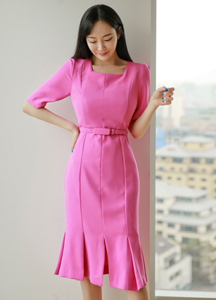 Veras Square Neck Midi One-piece dress (Beltset) <B>(S, M, L)</b>