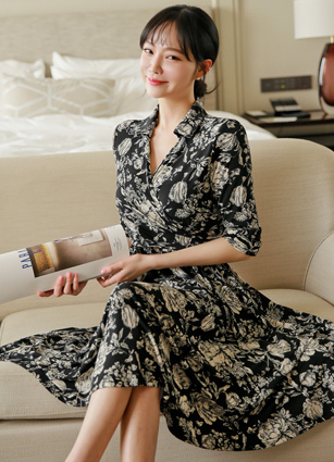Dorian VNeck Double Wrap Flower Jersey One-piece dress <br>