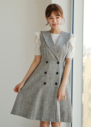 Blow Linen Best Flare One-piece dress <B>(S, M, L)</b> <br> <FONT color=#980000>◆ Remaining Quantity: Gray / S 1 sheet</font> <br>