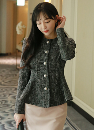 Pearl Tweed Tenerife Plum Linen Jacket <br> <B>(S ~ M)</b>