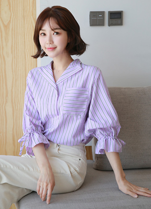 Isabella Open Collar Stripe Shirt <br>