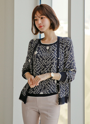 <b><FONT color=#980000>CodySET ◆ 10% discount</font></b> <br> Brussels Pattern Color VNeck Silky Cardigan + <br> Brussels Pattern Poly Chiffon Nasir