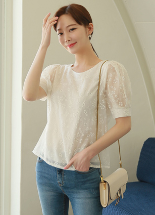 Alice Flower jacquard Puff Blouse <br>