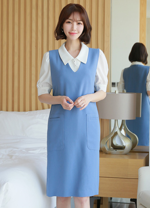 <b><FONT color=#980000>CodySET 10%</font></b> <br> Julia Pocket VNeck Sleeveless One-piece dress + <br> Caron Soybean button Kara Blouse