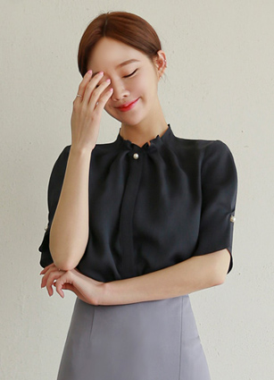 Moene Shirring Neck Pearl Button Blouse <br> (Broadcast sponsorship)