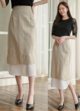 Chemie Rear Banding Appearance Linen Skirt <br>