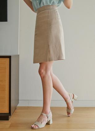 Monogram Linen100% Aline Skirt <B>(S, M)</b>