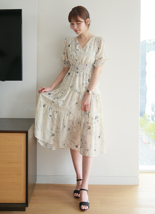 Etoya Smoke Bending Chiffon Long One-piece dress