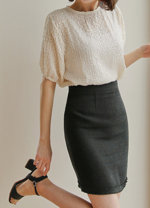 Tweed Mini Linen Skirt <B>(S, M)</b>