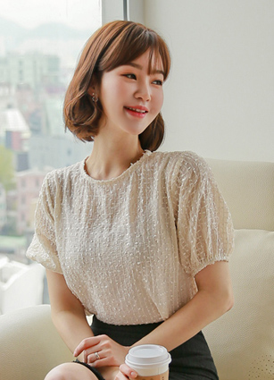 Mua Pearl jacquard Puff Blouse <br> (Same day shipping)
