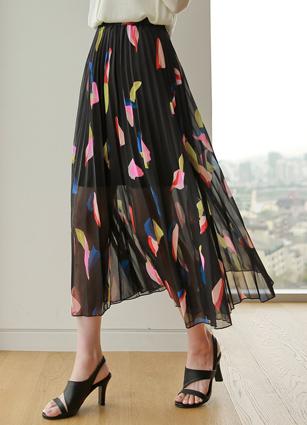 Waltz Color Pattern Chiffon Wrinkles Skirt <br>