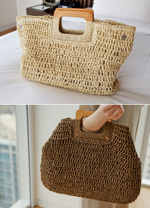 Wood Handle Branch Square Bag