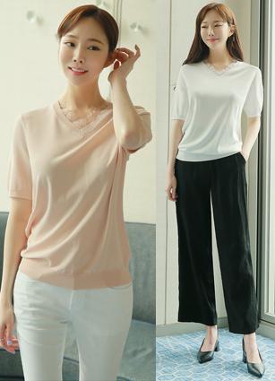 Lace Tencel Short-sleeve V Knit