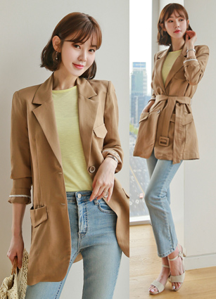 Karon Belted single Linen Jacket