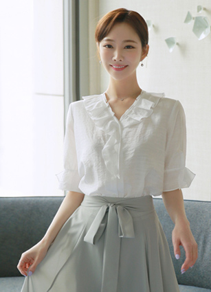 Sandy Ago Uncle Frill Neck Linen Blouse