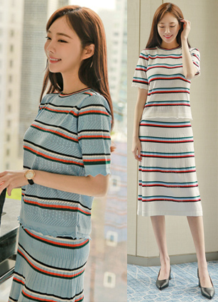 Anthony Punching Stripe Knit Two Piece (2Speciesset) <br> (Same day shipping)