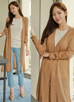 Pearl Pearl Button Long Cardigan
