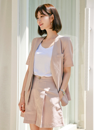 Nokara Short-sleeve Linen Jacket <B>(S, M)</b>