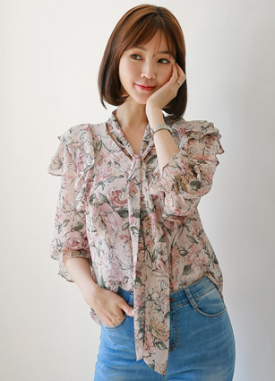 <b><FONT color=#980000>Always ♡ Lowest price</font></b> <br> Flower Frill Chiffon Blouse