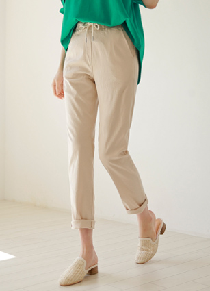 Oliver Waist string Slim Exhaust Pit Linen Pants <B>(S, M, L)</b>