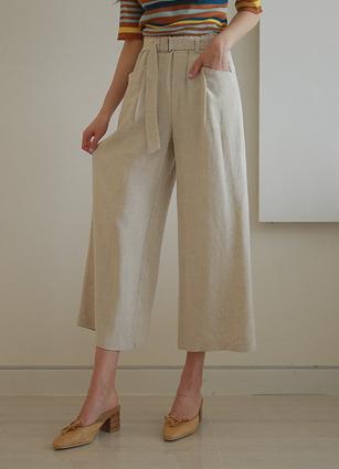 <b><FONT color=#980000>Encore ◆ 10% discount</font></b> <br> Chloe Di Belt Linen Wide Pants (1665) <B>(S, M, L)</b>