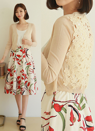 Short punching cardigan Short Cardigan