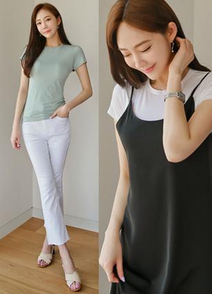 <b><FONT color=#980000>new ◆ 10% discount</font></b> <br> Round Slim Silket T-shirt
