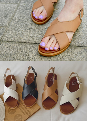 "Finder Cross Easy Sandals <font color=""#ed1558""><b>[Heel: 1.5cm]</b> <br></font>"