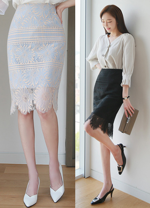<b><FONT color=#980000>new ◆ 10% discount</font></b> <br> CERAT FLOWER LACE H Skirt <B>(S, M, L)</b>