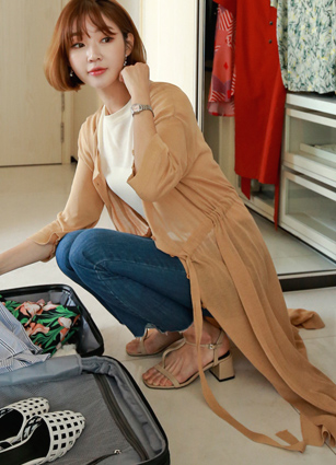 Cordel String Long Robe Cardigan