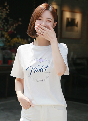 Violet Lettering Cotton T-shirt
