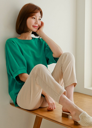 <b><FONT color=#980000>CodySET 10%</font></b> <br> Popo Pinteok retail loose fit Man to man T-shirt + <br> Oliver Waist string Slim Exhaust Pit Linen Pants