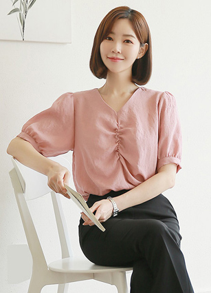 Bubble VNeck Shirring Blouse <br> (Broadcast sponsorship)