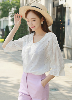 Arles Punching Race Frill Blouse <br>