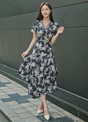 <b><FONT color=#980000>Always ♡ Lowest price</font></b> <br> Bilbao Palm Trees Frill Rap One-piece dress <B>(FREE, L)</b>