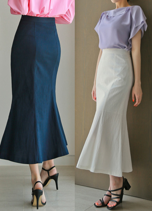 Bisset Linen Mermaid Long Skirt <B>(S, M)</b>