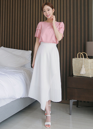 Akara back bending unlined wrinkle Long Skirt