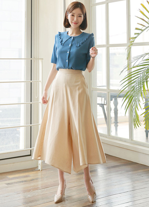 <b><FONT color=#980000>CodySET 10%</font></b> <br> Soho Karapuril Button Knit + <br> Rave Linen Wide Bound Skirt Pants