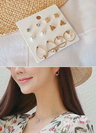 (6Piece set) Gold ring earring Set