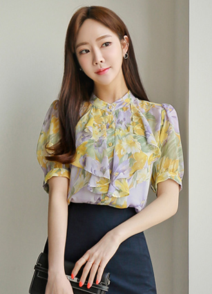 Flower Frill Chiffon Blouse <br> (Broadcast sponsorship) <br> <FONT color=#980000>◆ Remaining volume: 1 orange, 1 yellow</font> <br>
