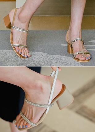 """champagne Bling Cubic Strap Sandals <font color=""""#ed1558""""><b>[Heel: 5cm]</b> <br></font>"""