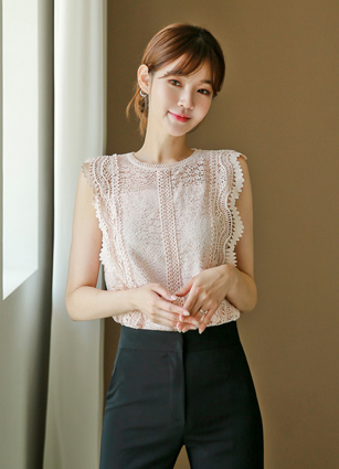 <b><FONT color=#980000>Always 10% off</font></b> <br> Siena Lace Sleeveless Blouse