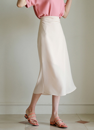 Ern Shirring Rear Banding Slit Skirt