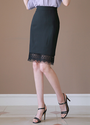 Fleet Hem Lace H Skirt <B>(S, M, L)</b>