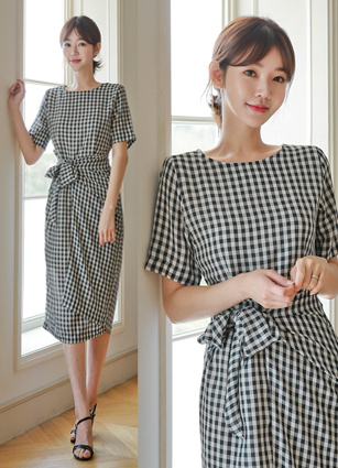Delphi Koban Check Rap One-piece dress